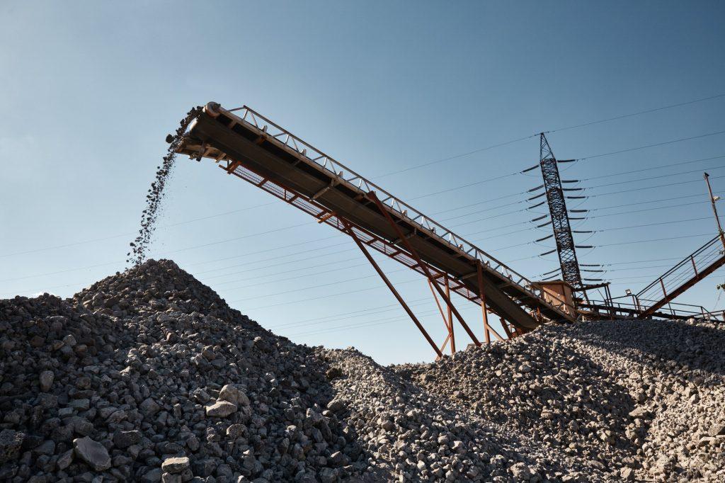 Conveyor belt on slag heap